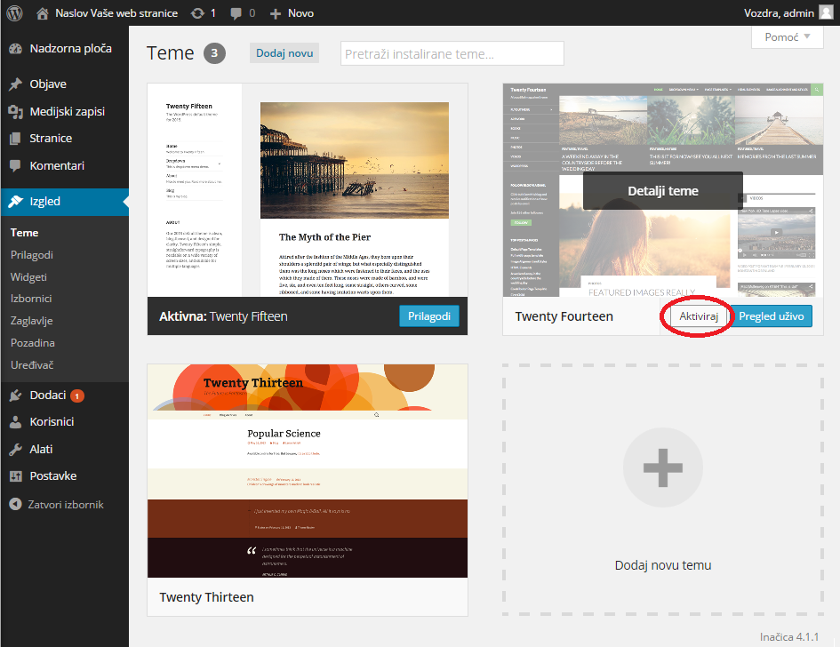 Izbor wordpress teme